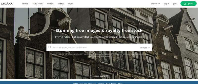 Schermafbeelding van Pixabay.com, waar je rechtenvrije gratis fotos kunt downloaden