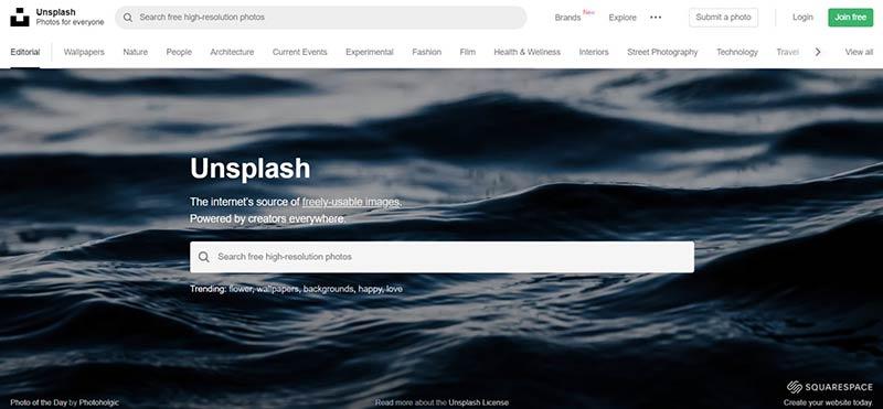 Schermafbeelding van UnSplash.com, nog een platform voor gratis en rechtenvrije foto's