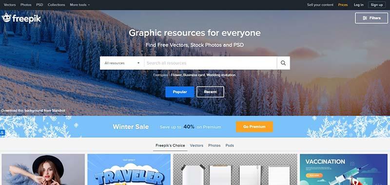 schermafbeelding van FreePik.com, een website met grafisch materiaal dat je kunt downloaden en gebruiken.