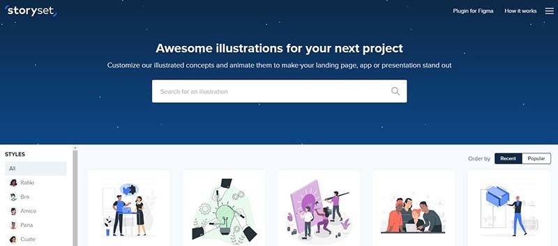Schermafbeelding van Storyset.com, een website waar je verschillende stijlen illustraties kunt downloaden om te gebruiken voor je blog.