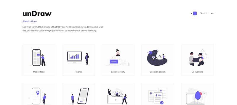 Schermafbeelding van UnDraw.co, een website waar je illustraties kunt downloaden.